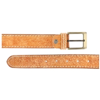 Full Grain Leather Belt With Contrasting Stitching 35mm Large Distressed Tan