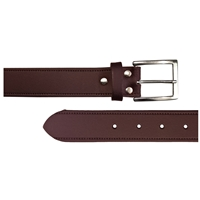 Leather Belt With Stitch Effect 30mm Medium Brown
