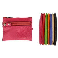 Leather 3 Zip Coin Purse with integral Key Ring Assorted Colours