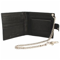 Cowhide Leather Wallet Black With 12Inch Chain. Coin Pocket