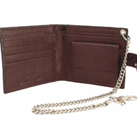 Cowhide Leather Wallet Brown With 12Inch Chain. Coin Pocket