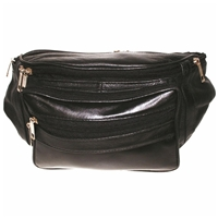 Large Leather Waist Bag Black