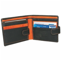 Cowhide Leather Wallet Black & Tan 2 Note Sections,