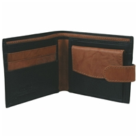 Cowhide Leather Wallet Black & Tan With Tab
