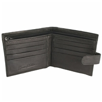 Nappa Leather Wallet Black 3 Card Slots, 2 Note Sections,