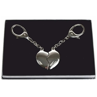 Twin Heart Key Fobs In Gift Box, Including Two Key Rings