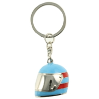 Blue Helmet Keyring With Red Detail