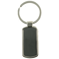 Long Straight Metal Bar Keyring With Engraving Panel