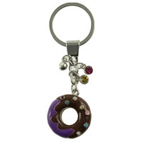 Purple Doughnut Keyring With Crystal Sprinkles