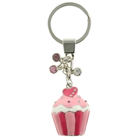 Pink Cupcake Keyring With Crystal Sprinkles