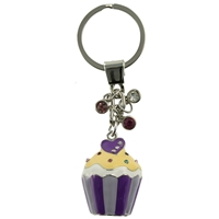 Purple Cupcake Keyring With Crystal Sprinkles