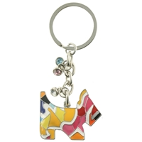 Mosaic Dog Keyring With Crystals