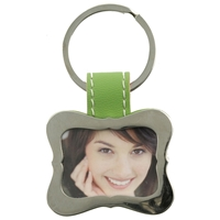 Green Curved Picture Frame Keyring With Faux Leather Tab