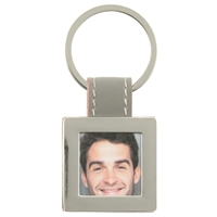 Grey Square Picture Frame Keyring With Faux Leather Tab