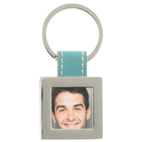 Blue Square Picture Frame Keyring With Faux Leather Tab