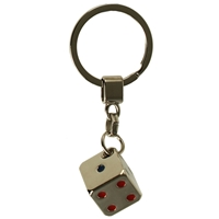 Dice Metal Key Ring With Coloured Dots