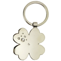 Clover Leaf Metal Key Ring With Crystals