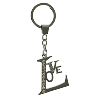 Love Metal Key Ring With Crystals