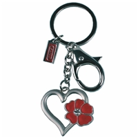 Heart Shape Key Ring With Red Crystal Flower