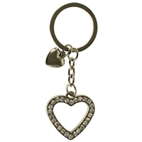 Cut Out Crystal Heart & Mini Heart Key Ring