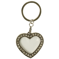 Heart Photoframe Clear Crystal Key Ring