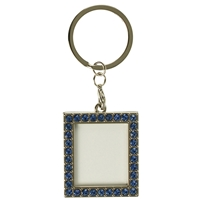 Rect Photoframe Blue Crystal Key Ring