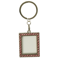 Rect Photoframe Pink Crystal Key Ring