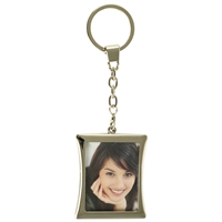 Curved Rect Metal Photo Frame Key Ring