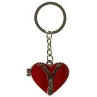 Red Unzipped Heart Key Ring