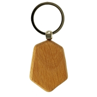 Hexagonal Shape Wood Key Ring