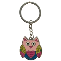 Coloured Owl Metal Keyring