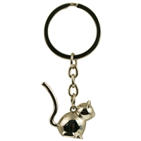 3D Cat Metal Keyring