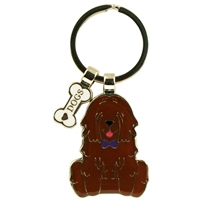 Brown Dog Metal Keyring