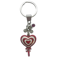 Red Heart Lollipop Metal Keyring
