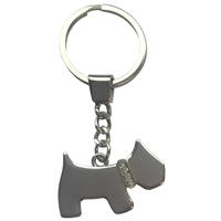 Scottie Dog with Crystal Collar Metal Keyring