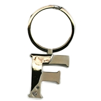 Alphabet Key Ring With Crystal Letter F
