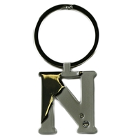 Alphabet Key Ring With Crystal Letter N