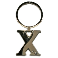 Alphabet Key Ring With Crystal Letter X