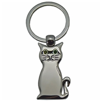 Cat Key Ring with Crystal Eyes