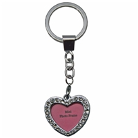 Heart Shaped Photo Frame Key Ring With Crystals