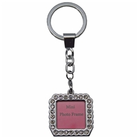Square Shaped Photo Frame Key Ring With Crystals