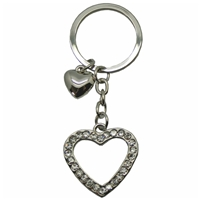 Heart Shaped Metal Key Ring With Clear crystals