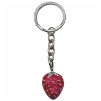 Strawberry Metal Key Ring