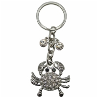 Premium Design Metal Key Ring Crab With Clear Crystals