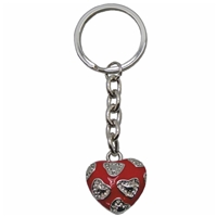 Premium Design Metal Key Ring 3D Heart With Mini Crystals