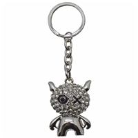 Premium Design Metal Key Ring One Eyed Cat With Crystals