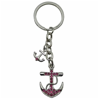 Premium Design Metal Key Ring Double Anchor With Crystals