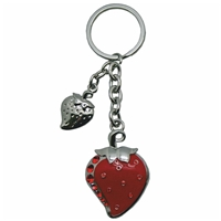 Premium Design Metal Key Ring Strawberry With Red Crystals