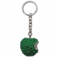Premium Design Metal Key Ring Green Apple With Crystals