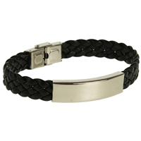Narrow Woven Leather Bracelet Black